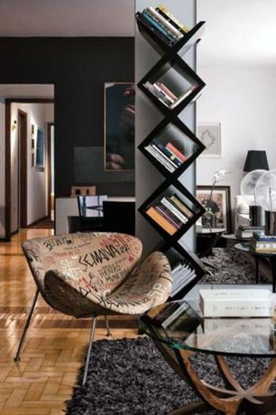 Contemporary Living Room with BROADWAYDouble-sided wooden bookcase, Graffiti chair, Orange slice chair, High ceiling, Retro