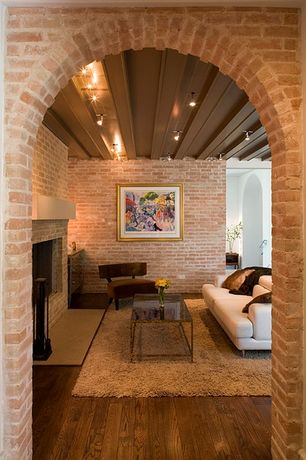 Eclectic Living Room with brick fireplace, Fireplace, Hardwood floors, interior brick, flush light, Standard height