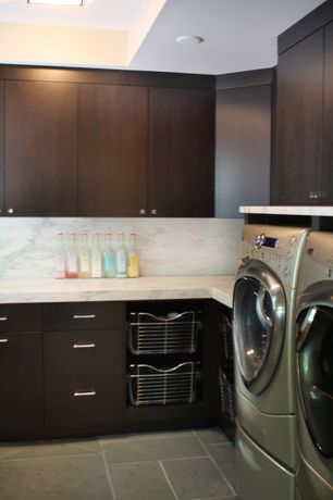 Contemporary Laundry Room with Built-in bookshelf, can lights, laundry sink, Drop-in sink, Concrete tile , Standard height