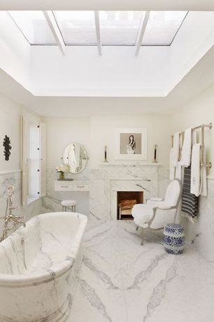 Traditional Master Bathroom with Bay window, Flat panel cabinets, Master bathroom, Skylight, Freestanding, Standard height