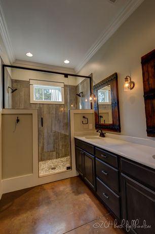Craftsman 3/4 Bathroom with Andella home rustic barn door wall mirror, Crown molding, Concrete floors, Flush, Wall sconce