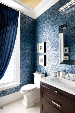 Traditional Powder Room with Corian counters, Crown molding, Flush, interior wallpaper, Flat panel cabinets, Undermount sink