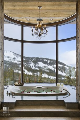 Contemporary Master Bathroom with White led can light kit, drop in bathtub, Spa retreat, picture window