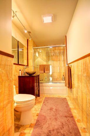 Craftsman Full Bathroom with Shower, Standard height, framed showerdoor, tiled wall showerbath, flush light, Full Bath, Flush