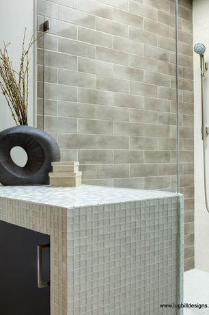 Modern Full Bathroom with Elements Stanton Cabinet Pull, American Olean Color Appeal Pearl 1 x 1 Glass Mosaic
