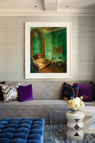 Contemporary Living Room with Carpet, Kathy Kuo Strie Textured Contemporary Wallpaper, Crown molding, Box ceiling