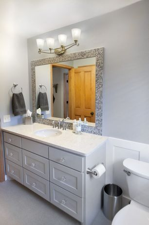 Traditional Full Bathroom with Standard height, Wall Tiles, Paint 1, Ceramic Tile, wall-mounted above mirror bathroom light