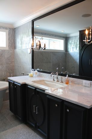 Contemporary Master Bathroom with Flush, double-hung window, Undermount sink, Flat panel cabinets, penny tile floors