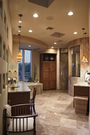 Modern Master Bathroom with frameless showerdoor, Flat panel cabinets, Modern windsor chair, Pendant light, Master bathroom
