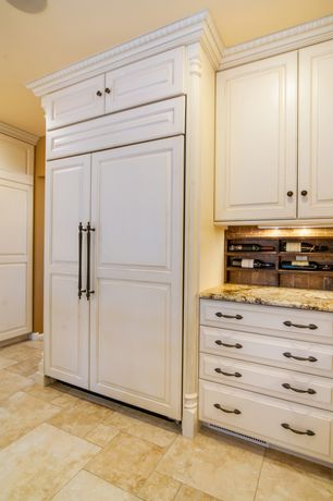 Traditional Kitchen with One-wall, limestone tile floors, Merillat cabinetry fairlane square dove white maple cabinets, Flush
