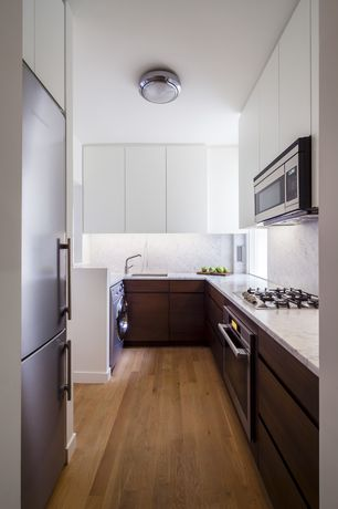 Contemporary Kitchen with Flush, European Cabinets, Simple Granite, Maple - Natural 5 in. Engineered Hardwood Wide Plank