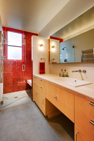 Contemporary 3/4 Bathroom with Shower, frameless showerdoor, Paint, three quarter bath, European Cabinets, Concrete floors
