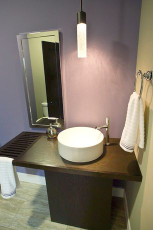 Modern Powder Room with Powder room, Wood counters, Jupiter Sand 12 in. x 24 in. Porcelain Floor and Wall Tile, Vessel sink