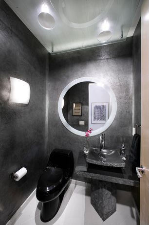 Modern Powder Room with Philips Consumer Luminaire Edge 2 Light Wall Sconce, Ryvyr Rectangular Stone Vessel Bathroom Sink
