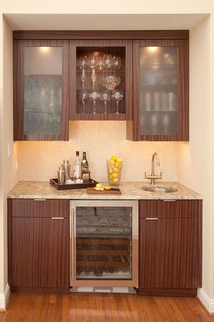 Contemporary Bar with Standard height, Hardwood floors, Built-in bookshelf