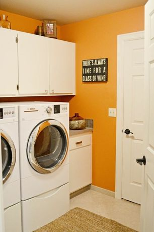Modern Laundry Room with Concrete floors, Built-in bookshelf