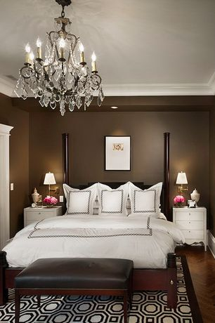 Traditional Master Bedroom with Crown molding, Hardwood floors, King West Brook Brown Cherry Two Post Headboard Bed