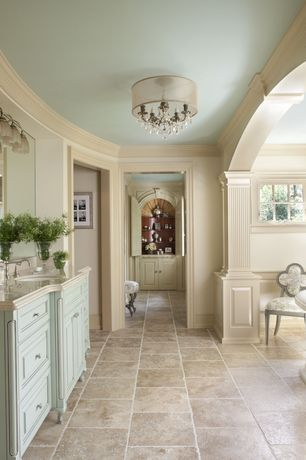 Traditional Master Bathroom with Crown molding, Master bathroom, MS International Crema Marfil Classic Marble, Raised panel