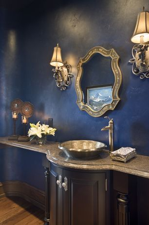 Traditional Powder Room with Wall sconce, Powder room, Paint 1, Flush, Simple granite counters, Hardwood floors, Raised panel