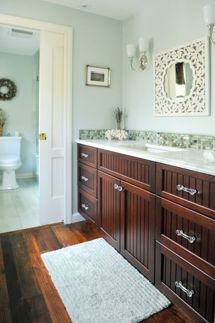Traditional Full Bathroom with Flat panel cabinets, Hardwood floors, large ceramic tile floors, Undermount sink, Ceramic Tile