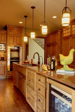 Country Kitchen with L-shaped, Glass panel, Undermount sink, Flat panel cabinets, Quartz counters, Stone Tile, Slate Tile