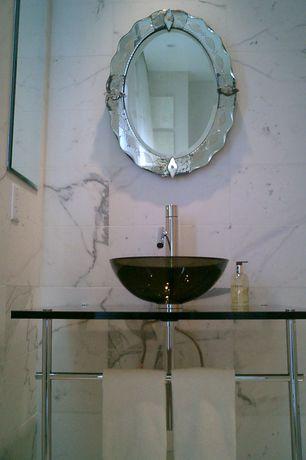 Modern Powder Room with Venetian Gems Sophia Mirror, MS International China Carrara Marble, Powder room, Vessel sink