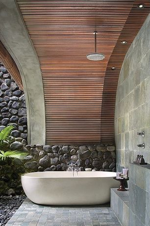 Tropical Master Bathroom with Shower, Standard height, can lights, shower bath combo, Wall Tiles, tiled wall showerbath