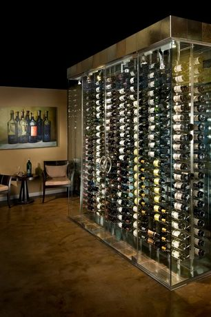 Contemporary Wine Cellar with Concrete floors, High ceiling, French doors, flush light, picture window, Paint 1