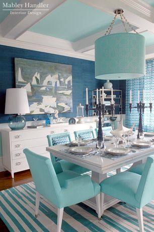 Contemporary Dining Room with Box ceiling, interior wallpaper, Pendant light, Laminate floors, Crown molding
