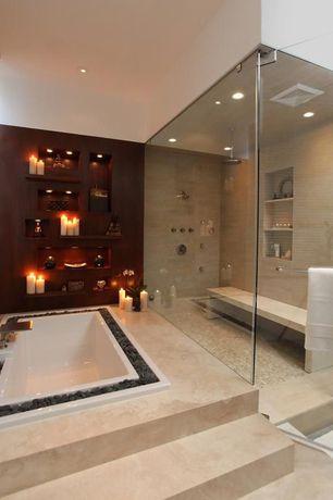 Contemporary Master Bathroom with frameless showerdoor, Rain shower, Built-in bookshelf, Master bathroom, Carpet