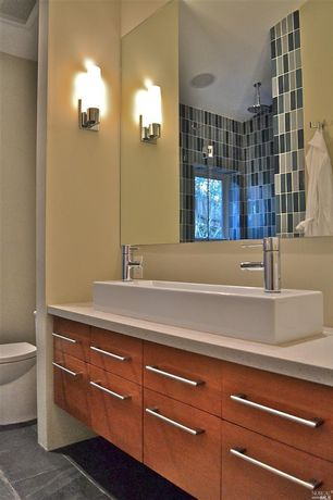 Master Bathroom with frameless showerdoor, Flush, Limestone counters, Vessel sink, Rain shower, European Cabinets
