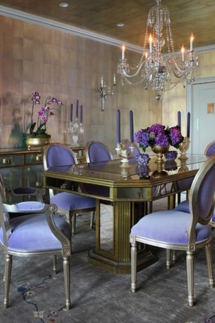 Traditional Dining Room with Standard height, Wallcovering, flat door, Crown molding, Contrasting interior trim, Upholstery
