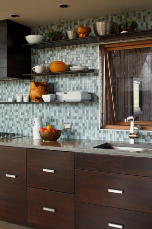 Contemporary Kitchen with Sumo floating shelf, European Cabinets, Glass Tile, Dupont corian dove, Undermount sink, One-wall