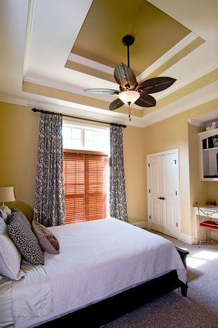 Traditional Guest Bedroom with Art desk, Crown molding, Ceiling fan, Crate & barrel - brighton coffee bed, Carpet