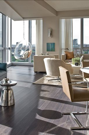 Contemporary Great Room with West Elm Martini Side Table Silver, Brno Chair Flat Bar, Wall sconce, Laminate floors