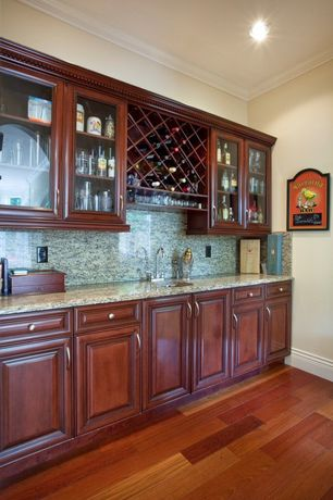Traditional Bar with Crown molding, Hardwood floors, Built-in bookshelf