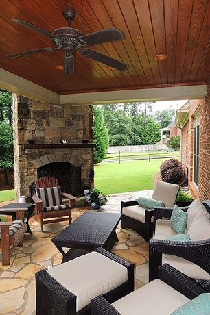 Traditional Porch with Wood paneled ceiling, Coral coast richmond curveback shorea adirondack chair, exterior stone floors