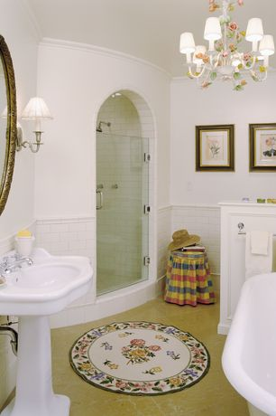Traditional Full Bathroom with Crown molding, Lizzie antique gold leaf mirror, Rain shower, frameless showerdoor, Chandelier