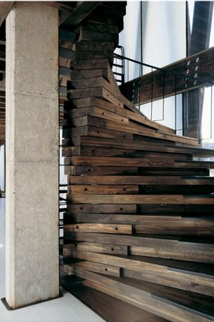 Rustic Staircase with Hardwood floors, Exposed beam, High ceiling, Columns, Laminated timber, Spiral staircase