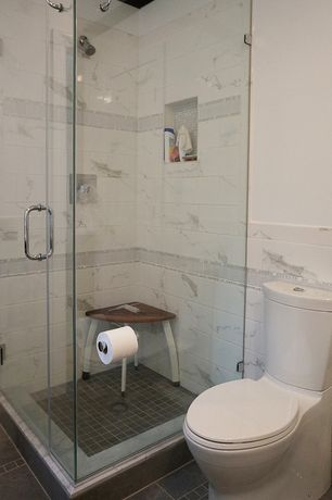 Contemporary Full Bathroom with Standard height, Shower, Crown molding, Wall Tiles, stone tile floors, three quarter bath