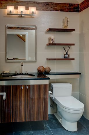 Contemporary Powder Room with Simple granite counters, Powder room, Undermount sink, Zebrawood veneer, European Cabinets