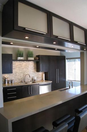 Contemporary Kitchen with Glass panel, High ceiling, Ceramic Tile, U-shaped, Travertine counters, Breakfast bar, Flush