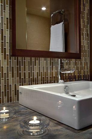 Contemporary Master Bathroom with American Standard Brook Bathroom Mirror, Signature Hardware Uno Single-Hole Bathroom Faucet