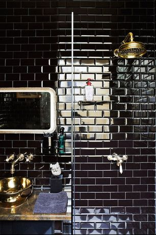 """Contemporary 3/4 Bathroom with EliteTile Sable 1-7/8"""" x 1/2"""" Polished Glass Subway Mosaic in Black Mirror"""