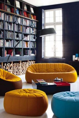 Contemporary Living Room with Ligne roset ottoman ottoman complete element, Built-in bookshelf, Carpet, Casement, Paint 1