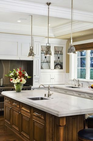 "Traditional Kitchen with Glass panel, Bromi Design - Essex 7-3/5"" W 1 Light Industrial Pendant in Chrome, Multiple Sinks"