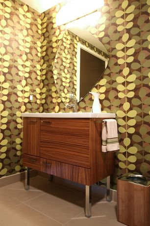 Contemporary Full Bathroom with allen + roth Green Strippable Non-Woven Prepasted Classic Wallpaper, European Cabinets, Flush