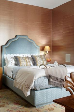 Traditional Guest Bedroom with Wall sconce, Standard height, Laminate floors