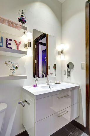 Contemporary Kids Bathroom with Virtu usa antonio 29-inch white single sink vanity set