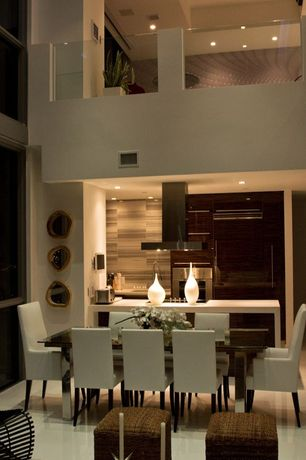 Contemporary Dining Room with Modus bossa parsons dining room chair - pair, sandstone floors, picture window, can lights